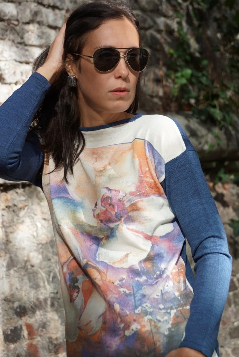 Pullover mit Blumen - Print