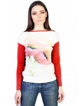 Pullover mit Mohnblumendruck